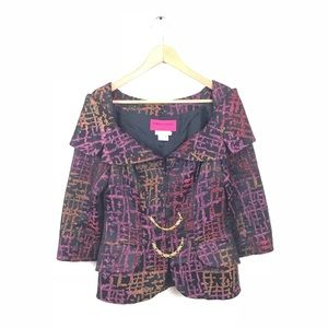 Christian Lacroix Jacket Printed Gold Chain VTG 36
